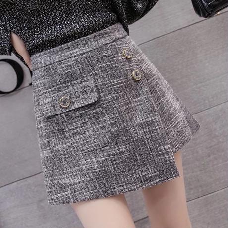 ツイードラップスカート風パンツ