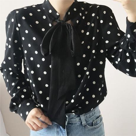 ドットリボンシャツ