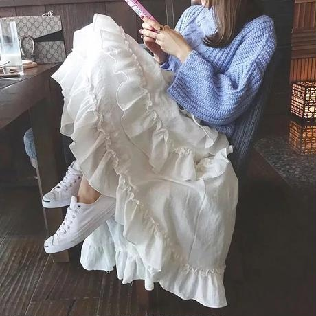ロングフレアフィッシュテールスカート