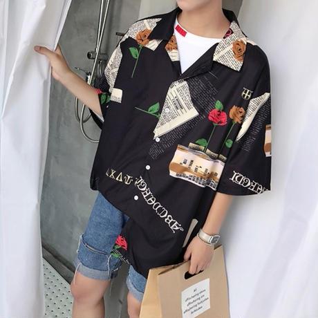 シャツ レトロ柄 古着系 原宿系 韓国 オルチャン 柄シャツ 英字 総柄 オーバーサイズ 3サイズ 送料無料