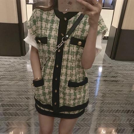 【Sサイズ即納】グリーンツイードベスト スカートセット