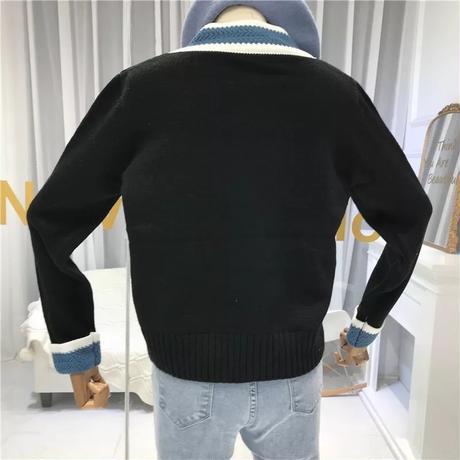 【Black即納】Vネック シルバーボタンラインカーディガン 3色展開