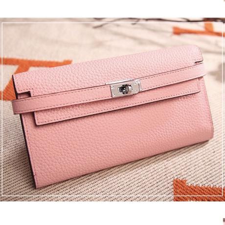 【Pink.Orange即納】高品質レザー バックル長財布 7色展開