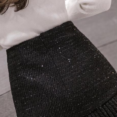 アシメプリーツ ツイードスカート
