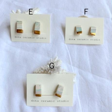 color&monochro marble ceramic earring