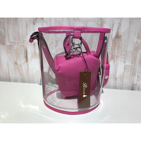 pink ポーチ付きクリアバッグ