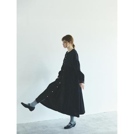 コットンリネン・ドット・ ミックス・ワンピース/ブラック