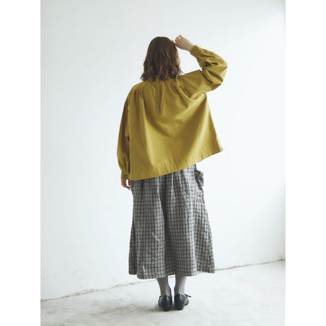 東炊きコットンビエラ・ギャザープルオーバー/ハニーマスタード