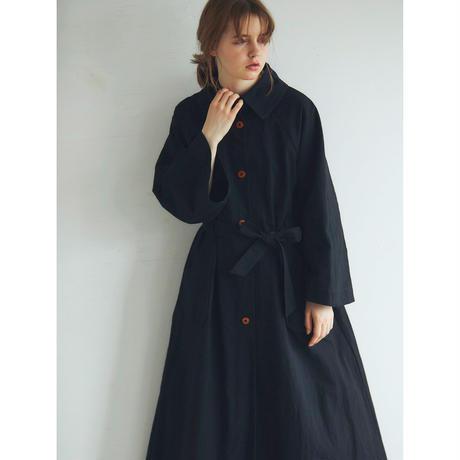 コットンリネン・ウェザー・トレンチコート/ブラック