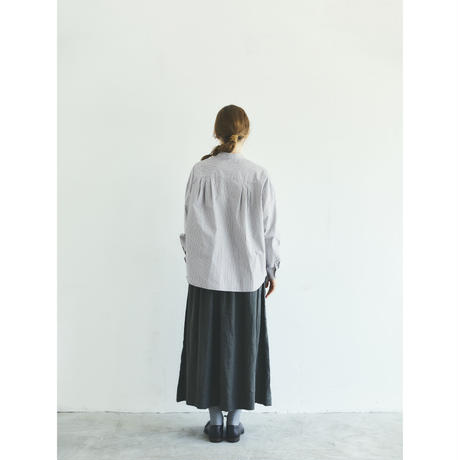 オーガニックコットン・ストライプ・ バンドカラー・シャツ/グレー