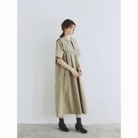 天日干しコットン・スクエアカラー・ワンピース/ベージュ