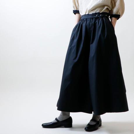 ハイカウントコットン・ワイドパンツ/ブラック