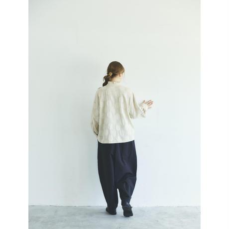 コットンリネン・ドット・ ラッフル・ブラウス/アイボリー