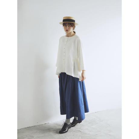 キャンバスリネン・サイドギャザー・ジャケット/ホワイト