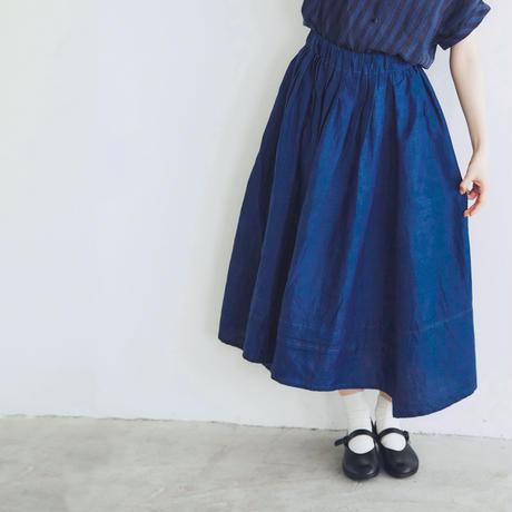 インディゴリネン・ロングギャザースカート/ネイビーブルー