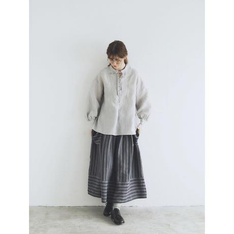 シャンブレーリネン・ファーマー・プルオーバー/ライトグレー