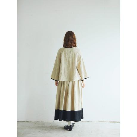 トリプルウォッシュリネン・バイカラースカート/ベージュ