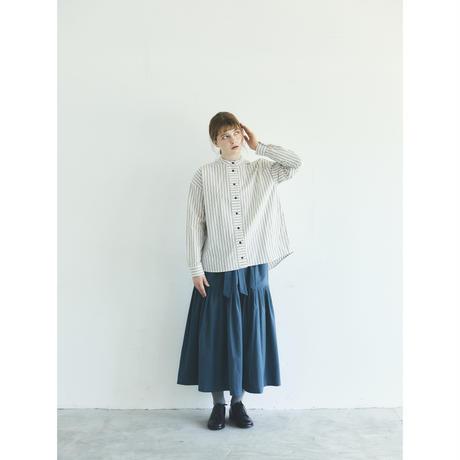 オーガニックコットン・ストライプ・ バンドカラー・シャツ/ベージュ