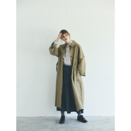 コットンリネン・ウェザー・トレンチコート/ベージュ