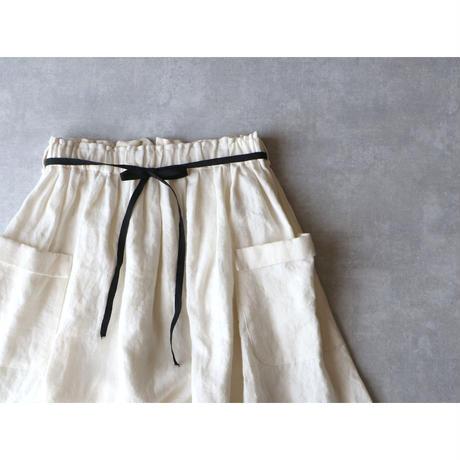 ブラッシュド・ベルギーリネン ロングスカート/ホワイト