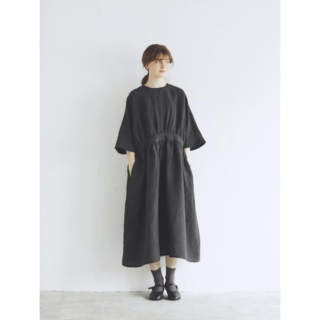 スラブリネン・ギャザーワンピース/チャコール