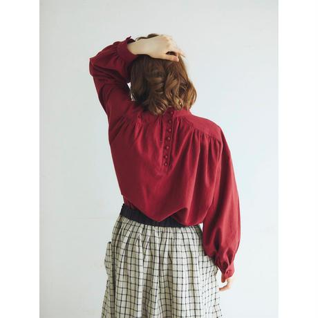 東炊きコットンビエラ・ギャザープルオーバー/カーマイン