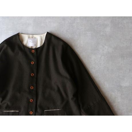 コットン・ウール・プルヴィエ・ジャケット/ブラウン×ブラック