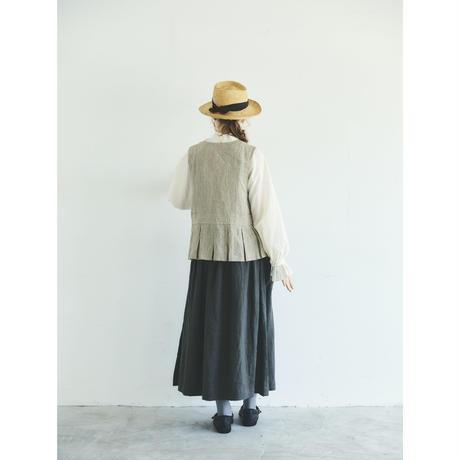 ストライプリネン・ベルジェール・ジレ/ベージュ