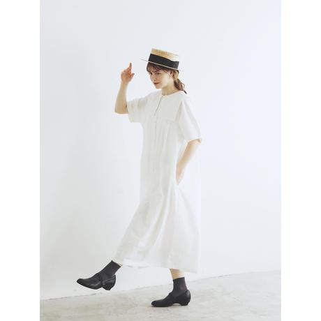 天日干しコットン・スクエアカラー・ワンピース/オフホワイト