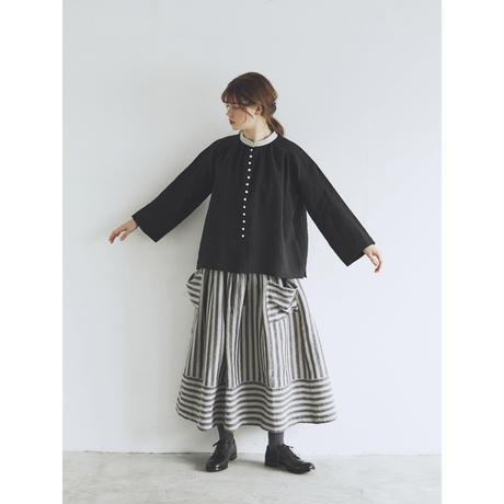 ウォッシュドリネン・アンティーク・ブラウス/ブラック