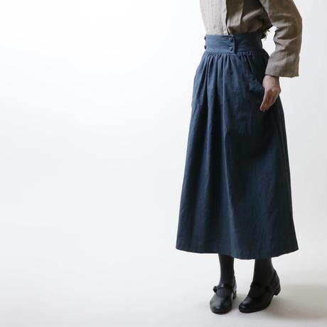 硫化染めコットン・ギャザースカート/ディープブルー