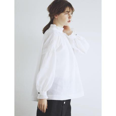 フレンチリネン・フリル・ギャザー・プルオーバー/ホワイト