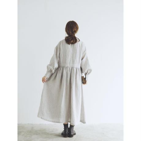 シャンブレーリネン・比翼ギャザーワンピース/ライトグレー