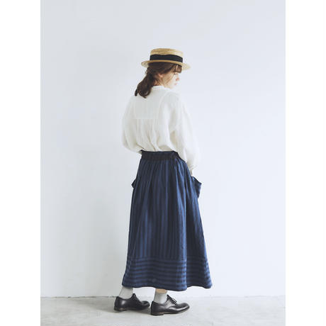 トライプリネン・ファーマースカート/ネイビー