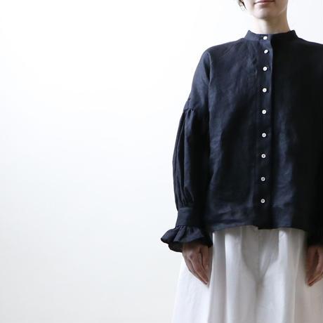 平織りリネン・フリルスリーブ・ブラウス/ブラック