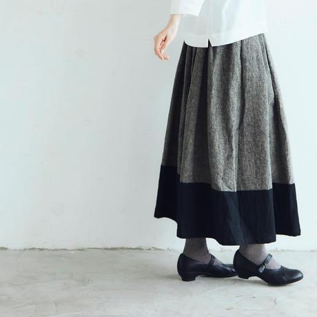 トリプルウォッシュリネン・バイカラースカート/グレー