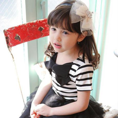 韓国子供服pastelリボンボーダー