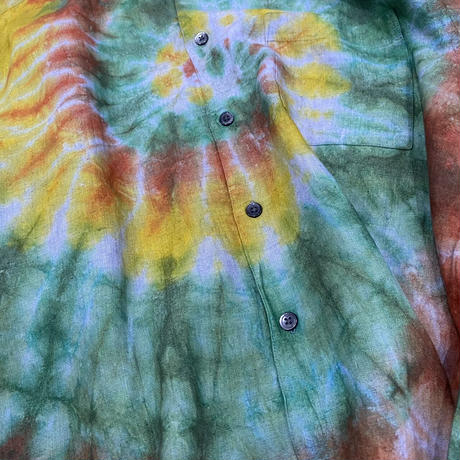 old linen tie dye shirt 染め加工