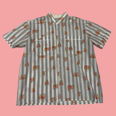 vintage euro 70s band collar print shirt