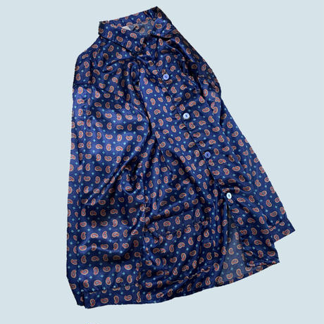 vintage euro satin pajama long shirt ベルトループ付き