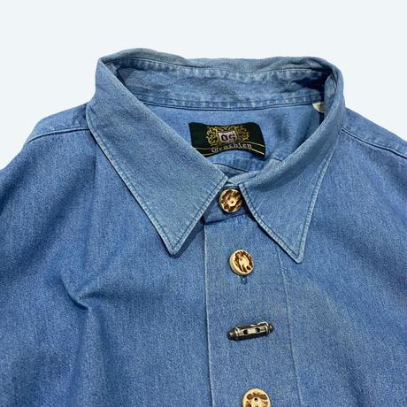 vintage euro chambray Tyrol shirt 金具刺繍