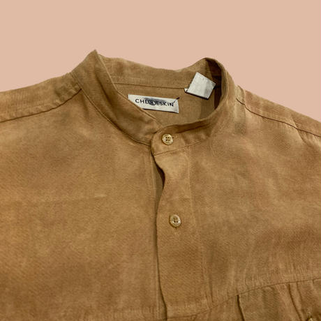 vintage euro fake suède round neck box shirt