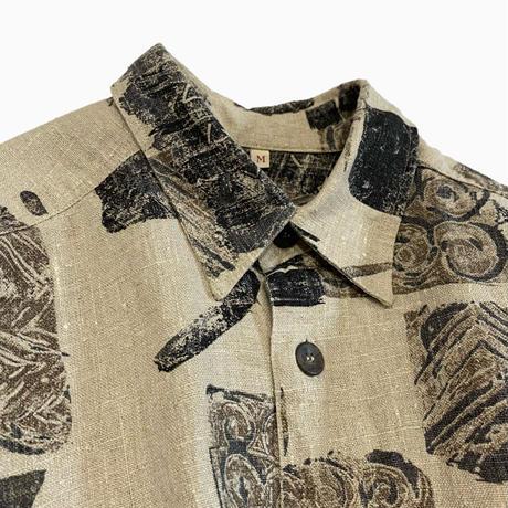 vintage euro linen print shirt