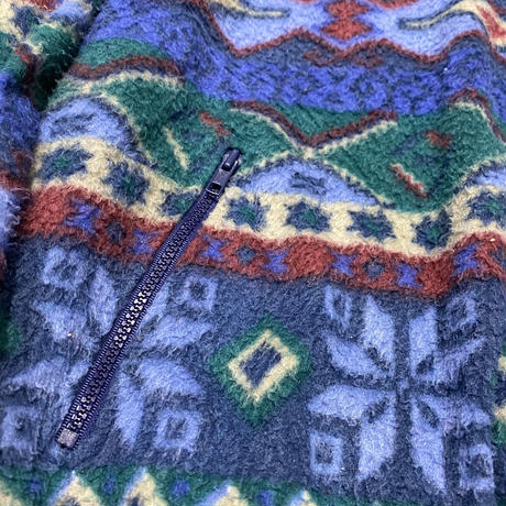 vintage euro native blue print fleece
