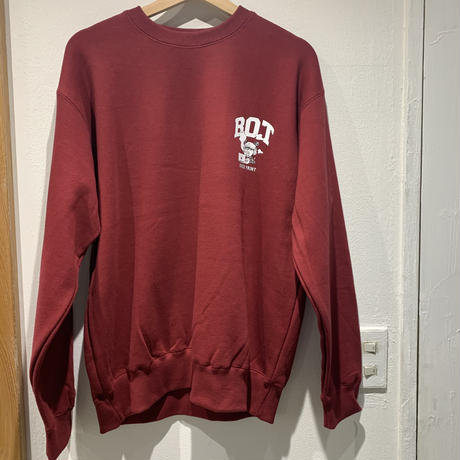 over print/BOT crewneck pullover