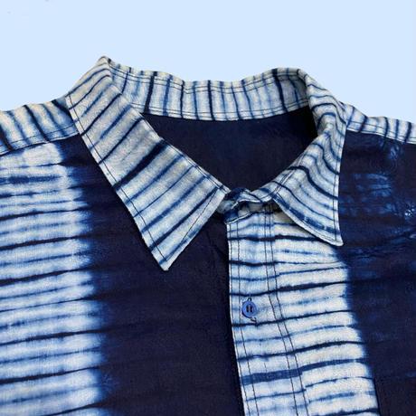 vintage euro African batik shirt 染め加工
