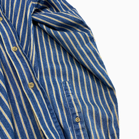 vintage QATAR stripe denim band collar shirt