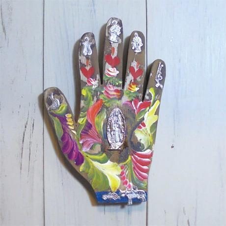 木製 手形ミラグロ壁飾り