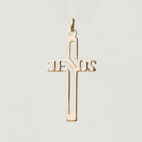 than/cias  10k yellowgold jesus cross pendant