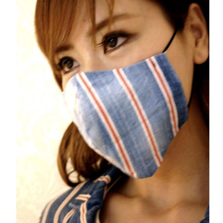 接触冷感シート付き 広島産ストライプデニムマスク